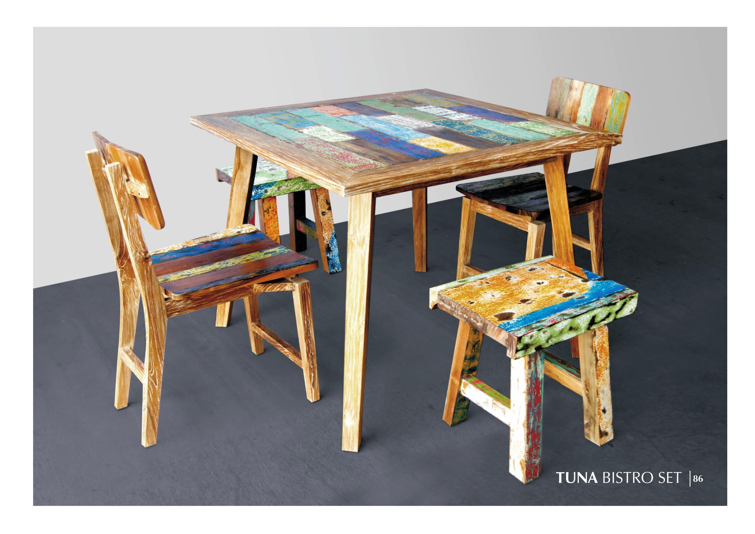 Tuna Wooden Bistro Set Reclaimed Teak And Recycle Furniture