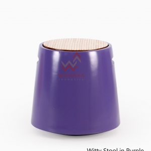 Wity Wooden Stool in Purple Colour
